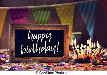 texto, feliz aniversário, em, um, chalkboard