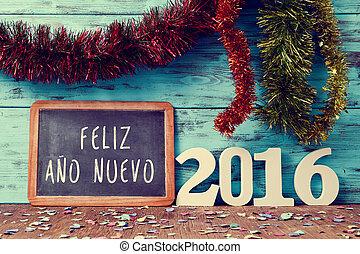 texto, feliz, ano, nuevo, 2016, feliz año nuevo, 2016, en, español