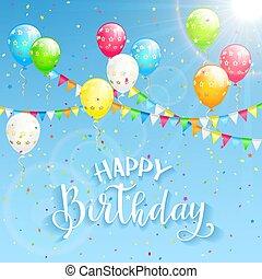 texto, feliz cumpleaños, y, decoración, en, cielo, plano de fondo