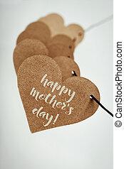 texto, feliz, dia mães, em, um, coração