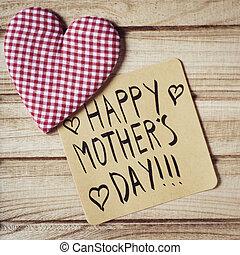 texto, feliz, dia mães, em, um, nota
