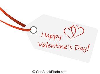 texto, feliz, hangtag, valentine