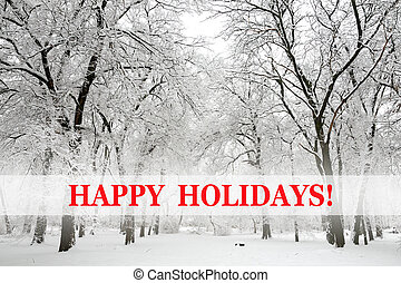 texto, feliz, neva-coberto, árvores, feriados