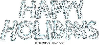 texto, feliz, nieve, vacaciones
