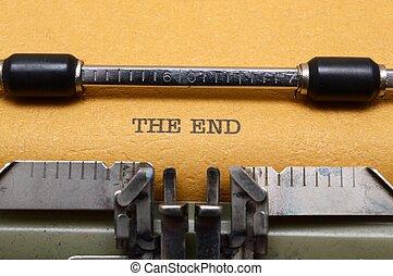 texto, fin, máquina de escribir