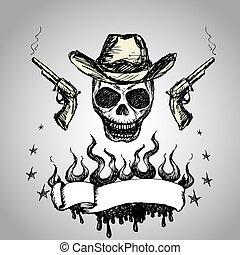 texto, fita, revólveres, cranio, boiadeiro