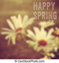texto, flores, feliz, primavera