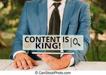 texto, focalizado, resultados, non, telefone, homem negócios, móvel, visibilidade, letra, conteúdo, marketing, significado, king., conceito, mão., seu, crescendo, pago, busca