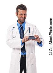 texto, guapo, mensajería, doctor