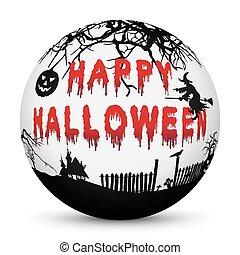 texto, halloween, sangriento, esfera, siluetas, negro, feliz