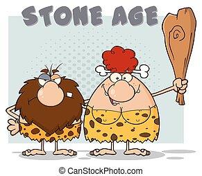 texto, idade pedra, par, caveman