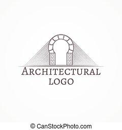 texto, ilustração, vetorial, tijolo, arco, redondo, ícone