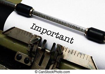 texto, importante, máquina de escribir