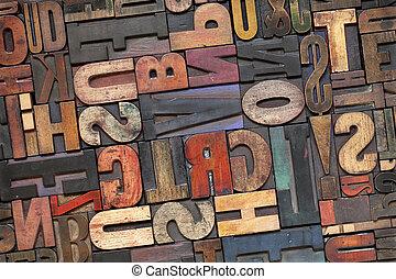 texto impreso, madera, tipo, con, tinta, pátina