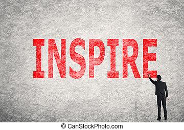 texto, inspirar, pared