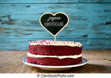texto, joyeux, anniversaire, feliz aniversário, em, francês