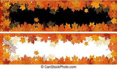 texto, leaf., otoño, frame:, lugar, here., su, arce