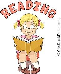 texto, lectura de la muchacha, ilustración, niño