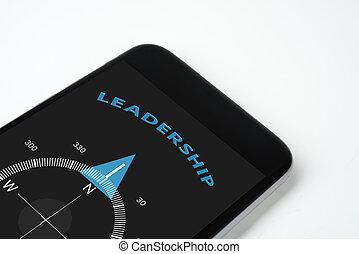texto, liderança, à mão, seta, compasso