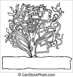 texto, lugar, árvore, seu, composição