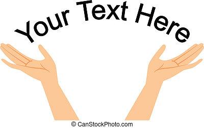 texto, mãos, seu, espaço