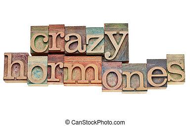 texto, madera, hormonas, tipo, loco