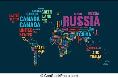 texto, mapa mundial, país, nome, tipografia, desenho