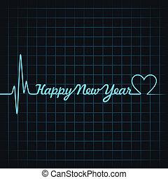 texto, marca, año nuevo, latido del corazón, feliz