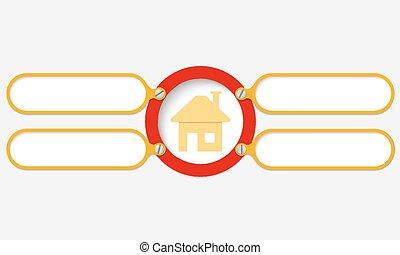 texto, marco, amarillo, su, cuatro, hogar, símbolo