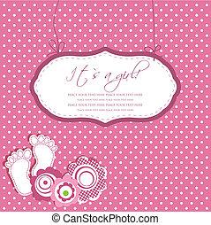 texto, marco, ducha, bebé da paso, pie, niña, su, tarjeta