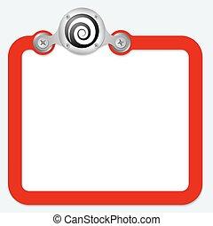 texto, marco, espiral, rojo