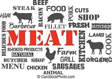 texto, meat., conjunto, carnicero