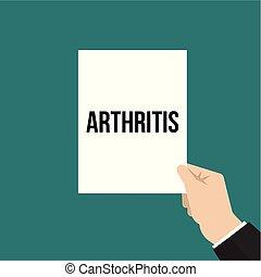 texto, mostrando, papel, artrite, homem