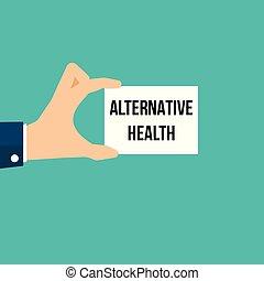 texto, mostrando, papel, saúde, alternativa, homem