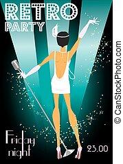 texto, muestra, diseño, retro, invitación, fiesta
