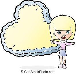 texto, mulher, caricatura, nuvem, espaço