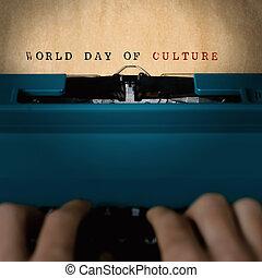 texto, mundo, día, de, cultura, escrito maquina