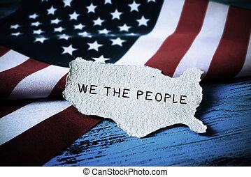 texto, nós, bandeira, eua, pessoas