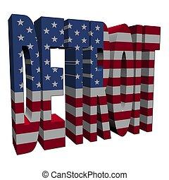 texto, norteamericano, ilustración, bandera, detroit, blanco...
