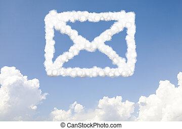 texto, nubes, correo, email, concepto