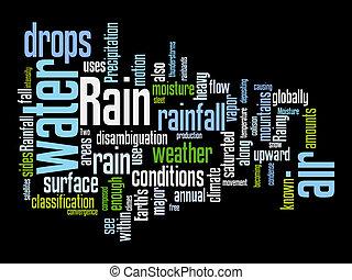 texto, nuvens, chuva