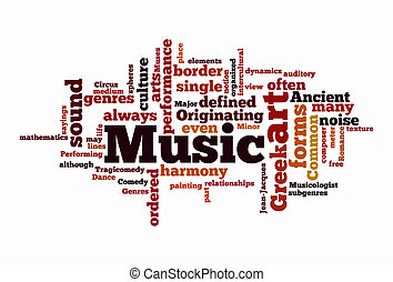 texto, nuvens, música