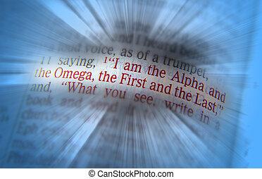 texto, omega de alfa, biblia