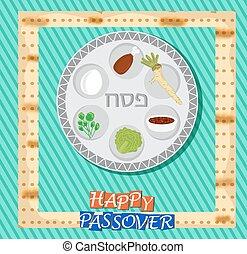 texto, -, pascua, vector, hebreo, tarjeta
