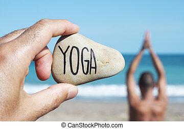 texto, pedra, iogue, homem ioga