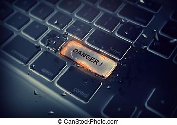 texto, perigo, botão