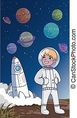 texto, posición, frente, ambición, traje, inspirado, joven, vector, de motivación, ilustración, planificación, cohete, astronauta, concepto, planetas, creatividad, crecimiento personal, debajo, espacio, feliz