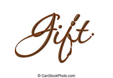 texto, presente, chocolate