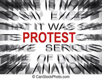 texto, protesta, foco, blured