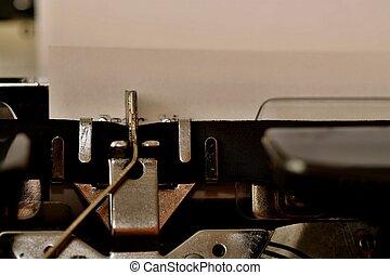 texto, querido, señor, mecanografiado, en, viejo, máquina de escribir